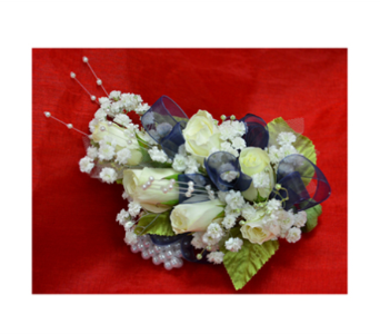 Pearls and Navy Corsage in Easton MD, Robin's Nest