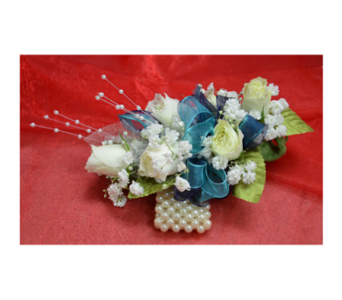 Pearls and Teal Corsage in Easton MD, Robin's Nest