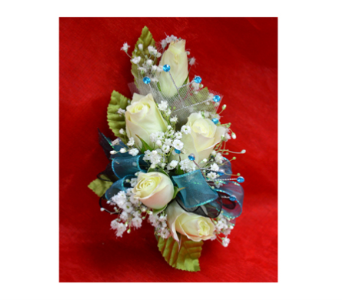 Roses with Teal Corsage in Easton MD, Robin's Nest