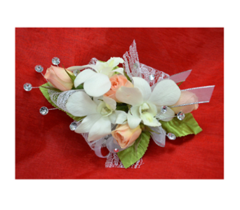 White and Peach Corsage in Easton MD, Robin's Nest