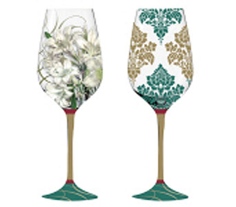 Holiday Greenery Wine Glass in Tampa FL, Buds, Blooms & Beyond