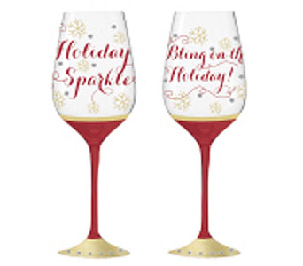 Merry Prima Donnas Wine Glass in Tampa FL, Buds, Blooms & Beyond