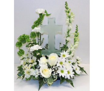 Peaceful Memory Cross Bouquet in Timmins ON, Timmins Flower Shop Inc.
