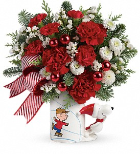 PEANUTS Christmas Mug by Teleflora in Bismarck ND, Ken's Flower Shop