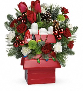 Snoopy's Merry Doghouse Jar by Teleflora in El Cajon CA, Jasmine Creek Florist