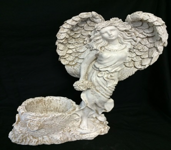 Standing Angel Holding Bouquet with Log Basket in Amelia OH, Amelia Florist Wine & Gift Shop