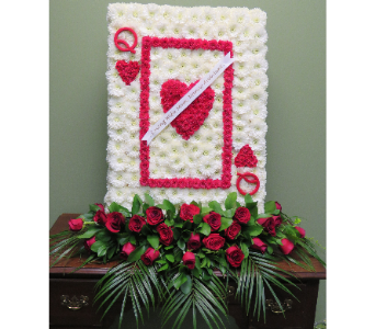 CASKET COVER QUEEN OF HEARTS in Woodbridge NJ, Floral Expressions