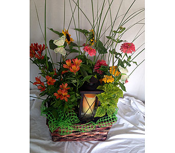 Summer Planter with Lantern in Crafton PA, Sisters Floral Designs
