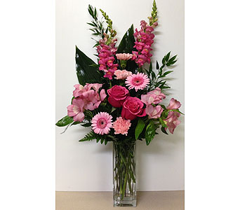 Shades of Pink 8 inch Square Vase - One-Sided in Wyoming MI, Wyoming Stuyvesant Floral