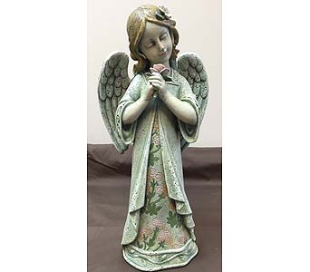 Angel with Rose in Brownsburg IN, Queen Anne's Lace Flowers & Gifts