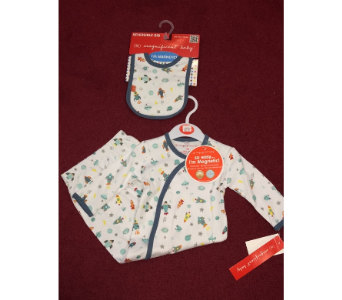 Space Jam Magnetic Gown & Matching Reversible Bib in Conway AR, Conways Classic Touch