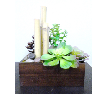 Bamboo & Faux Succulent Planter  in Tampa FL, Buds Blooms & Beyond