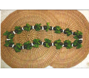 Kukui Nut Lei with Ti Leaves and Shells in Los Angeles CA, Haru Florist