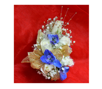 Blue Elegance Corsage in Easton MD, Robin's Nest