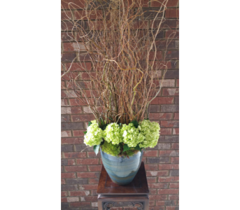 Green hydrangeas and curly willow in Birmingham AL, Continental Florist