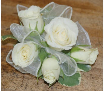 Wrist corsage white roses in Scarborough ON, Helen Blakey Flowers