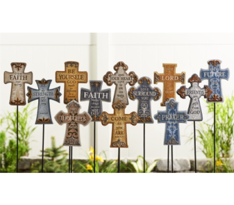 Inspirational Cross Design Garden Stake Assortment in Toledo OH, Myrtle Flowers & Gifts