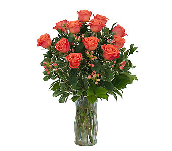Orange Roses and Berries Vase in Dover OH, Baker Florist, LLC