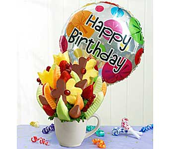 Edible Fruit Bouquet with Balloon in West Allis WI, Chamberlain's Flower Shop