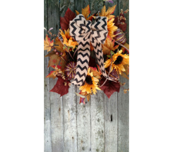 Autumn Harvest Chevron Wreath in Ambridge PA, Heritage Floral Shoppe