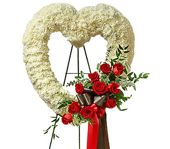 White and Red Open Heart with Red Roses