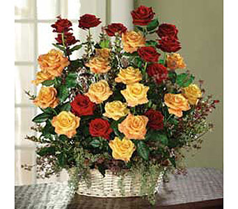 Red, Orange Roses and Red Huckleberry