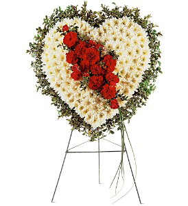 Red and White Heart Tribute Spray