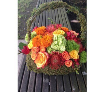 AUTUMN HAND BAG BOUQUET  in Bellevue WA, CITY FLOWERS, INC.