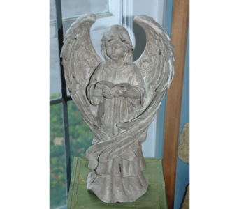 Female Angel Holding Book in Hales Corners WI, Barb's Green House Florist