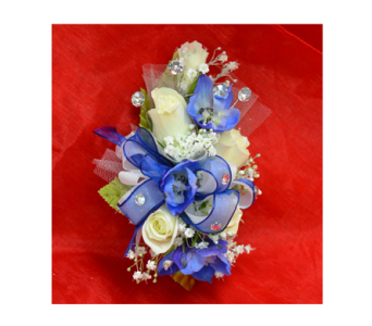 White & Royal Blue Corsage in Easton MD, Robin's Nest