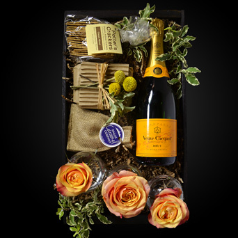 Champagne on the Terrace Gift Basket in Dallas TX, Dr Delphinium Designs & Events