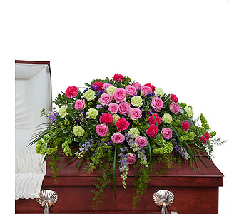 Forever Cherished Casket Spray in Huntington IN, Town & Country Flowers & Gifts