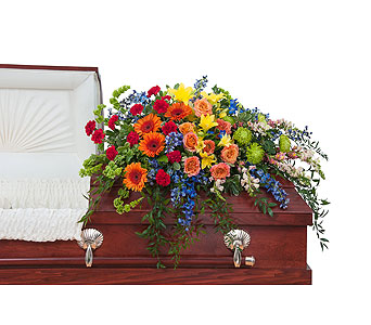 Treasured Celebration Casket Spray in Durham NC, Angel Roses Florist