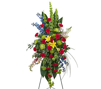 Treasured Celebration Standing Spray in Raleigh NC, North Raleigh Florist