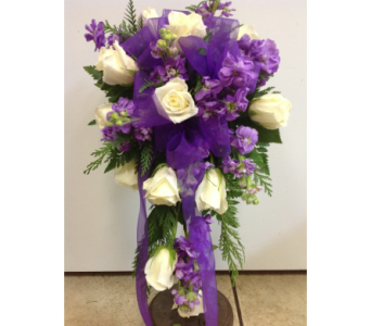 Purple and White Cascade in Kissimmee FL, Golden Carriage Florist