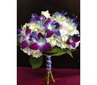 Blue Orchids and Hydrangeas in Kissimmee FL, Golden Carriage Florist