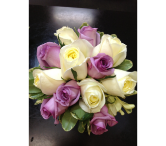 Purple & White Rose Hand-Tied Bouquet in Kissimmee FL, Golden Carriage Florist