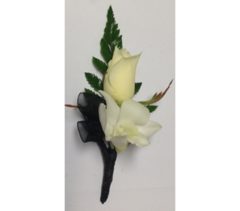 White Sweetheart Rose & Dendrobium Boutonni�re  in Wyoming MI, Wyoming Stuyvesant Floral