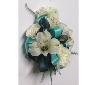 White, Black and Turquoise Wrist Corsage in Wyoming MI, Wyoming Stuyvesant Floral