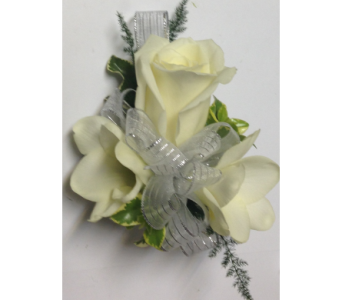White & Silver Classic Full-Size Rose Wrist Cors. in Wyoming MI, Wyoming Stuyvesant Floral