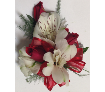 Red Sweetheart Roses and White Wrist Corsage in Wyoming MI, Wyoming Stuyvesant Floral