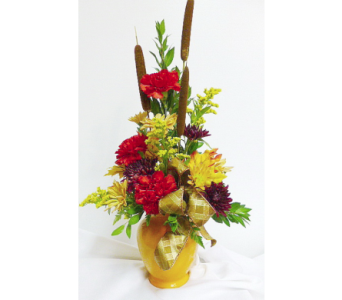 Fall Ginger Jar Arrangement in Warren MI, Downing's Flowers & Gifts Inc.