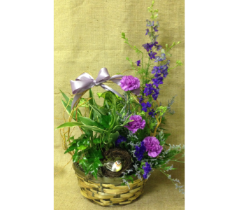 Planter with Bird and Purple Fresh- 10 inch basket in Wyoming MI, Wyoming Stuyvesant Floral
