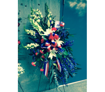Red, White, Blue Easel Spray in Kent WA, Blossom Boutique Florist & Candy Shop