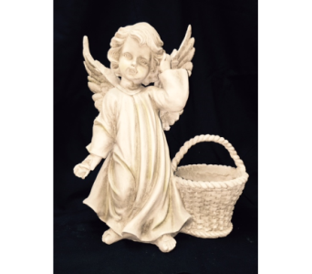 Angel with basket in Brownsburg IN, Queen Anne's Lace Flowers & Gifts
