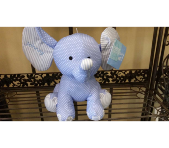 Small Plush Blue Elephant$33 in Mamaroneck - White Plains NY, Mamaroneck Flowers