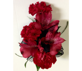 Red Carnations & Alstroemeria Wrist Corsage in Wyoming MI, Wyoming Stuyvesant Floral