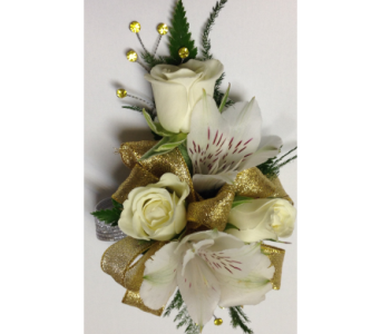 Gold Glitz Wrist Corsage in Wyoming MI, Wyoming Stuyvesant Floral