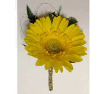 Yellow Miniature Gerbera Boutonniere in Wyoming MI, Wyoming Stuyvesant Floral
