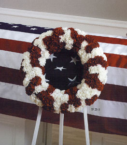 Red and White Patriot Wreath in Randallstown MD, Raimondi's Funeral Flowers